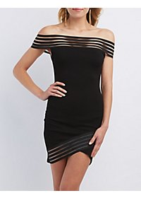 Shadow Stripe Off-the-Shoulder Bodycon Dress