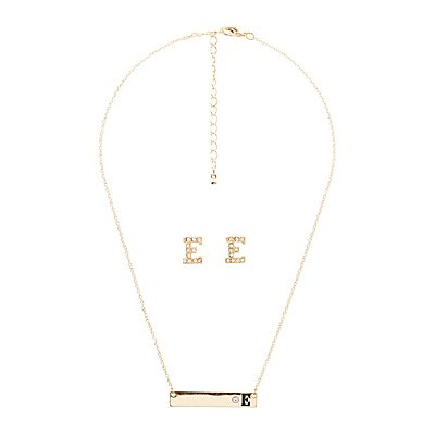 """""""E"""" Initial Necklace & Earrings Set"""