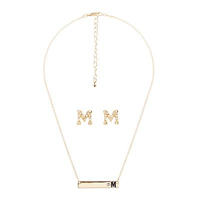 """""""M"""" Initial Necklace & Earrings Set"""