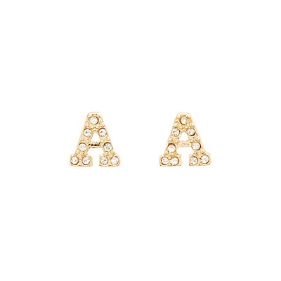 """A"" Initial Necklace & Earrings Set"