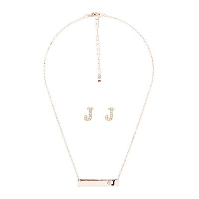 """J"" Initial Necklace & Earrings Set"
