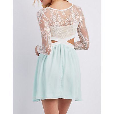 Lace Cut-Out Skater Dress