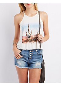 Graphic Bib Neck Tank Top