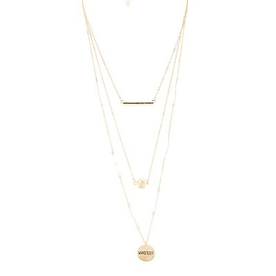 Coin, Bar & Crystal Layered Necklace