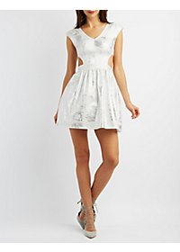 Metallic Cut-Out Skater Dress