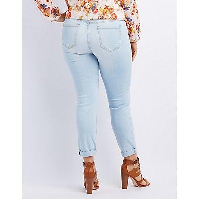 Plus Size Cello Slit Knee Skinny Jeans