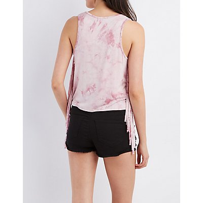 Fringed Tie-Dye Graphic Tank Top