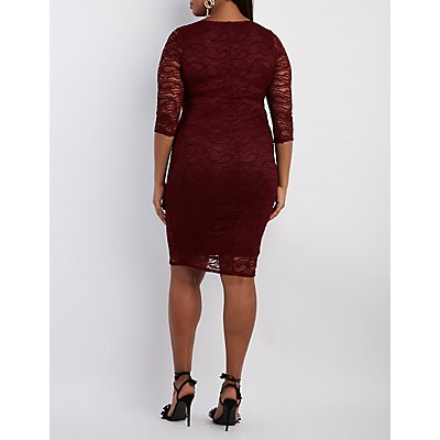 Plus Size Notched Lace Bodycon Dress