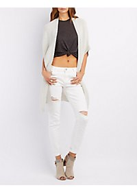 Ribbed Dolman Sleeve Cardigan Sweater