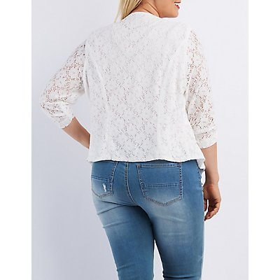 Plus Size Floral Lace Collarless Blazer
