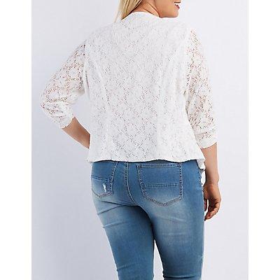 Plus Size Floral Lace Collarless Blazer