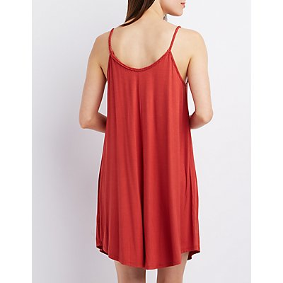Braided Scoop Neck Shift Dress