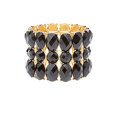 Faceted Gemstone Stretch Cuff Bracelet