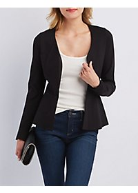 Collarless Peplum Blazer