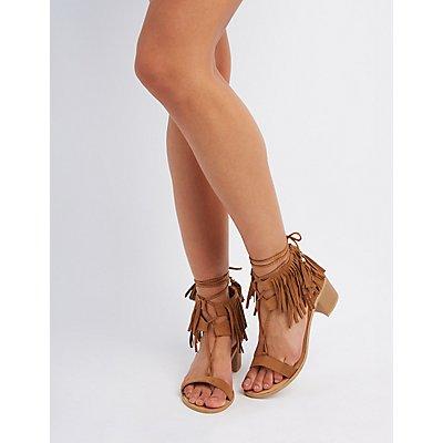 Qupid Lace-Up Fringe Sandals