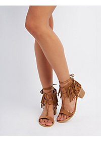 Qupid Lace-Up Fringe Sandals
