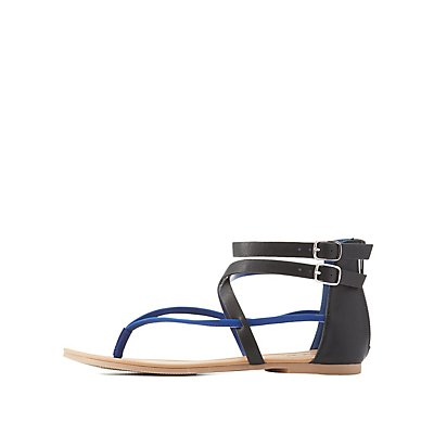 Qupid Two-Tone Strappy Sandals