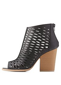 Qupid Laser-Cut Open-Toe Booties