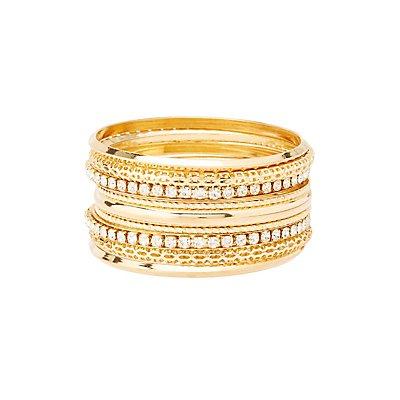 Etched & Embellished Bangle Bracelets - 7 Pack