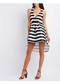 The Vintage Shop Striped High-Low Skater Dress