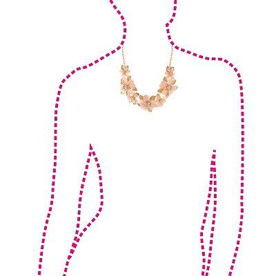 Rhinestone-Studded Flower Bib Necklace