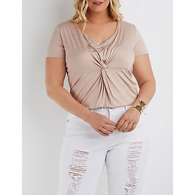 Plus Size Knotted V-Neck Top