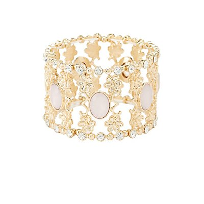 Embellished Filigree Stretch Cuff Bracelet