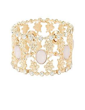 Embellished Filigree Stretch Cuff Bracelet