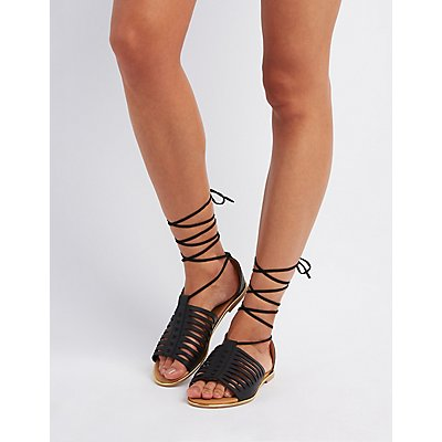 Qupid Lace-Up Huarache Sandals