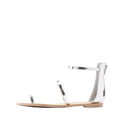 Qupid Metallic Three-Piece Sandals