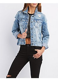 Destroyed Acid Wash Denim Jacket