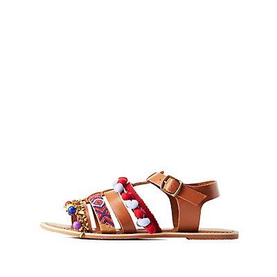 Beaded Pom-Pom Flat Sandals