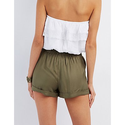 Tie-Front Cuffed Shorts
