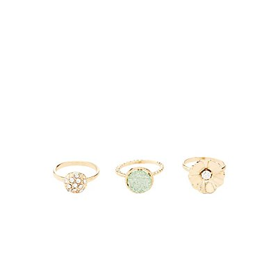 Embellished & Floral Rings - 3 Pack