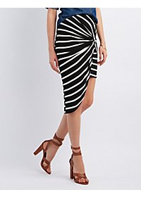 Striped & Knotted Asymmetrical Skirt