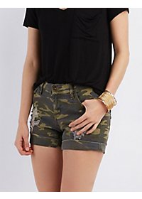 Camo Print Destroyed Denim Shorts
