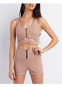 Strappy Zip-Up Crop Top