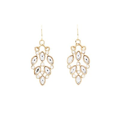 Rhinestone Cluster Drop Earrings