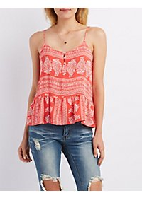 Strappy Paisley Button-Up Tank