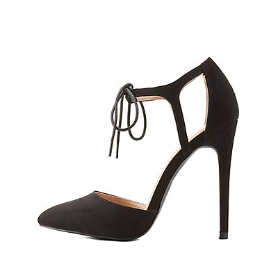 Two-Piece Lace-Up Pointed Toe Heels