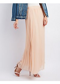 Woven Pleated Maxi Skirt