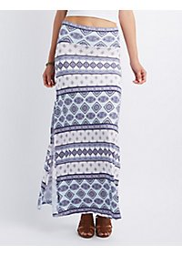 Printed Side Slit Maxi Skirt