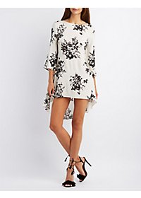 The Vintage Shop Floral Print High-Low Shift Dress