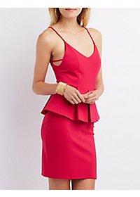Pleated Peplum Bodycon Dress