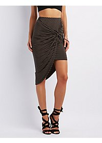 Striped Asymmetrical Knot Front Skirt