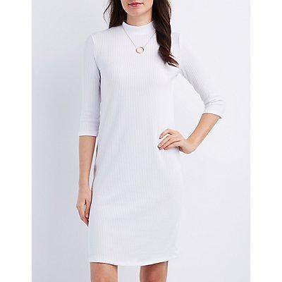 Ribbed Mock Neck Bodycon Dress