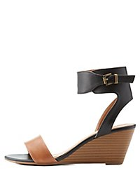 Two-Piece Contrast Wedge Sandals