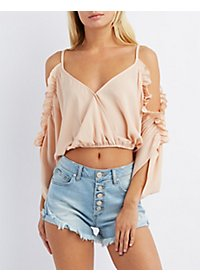 Ruffle-Trim Cold Shoulder Crop Top