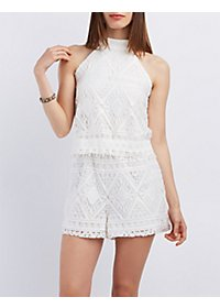 Tiered Diamond Lace Romper