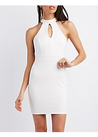 Lace-Back Keyhole Bodycon Dress